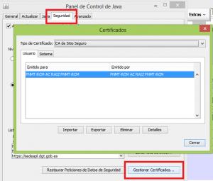 gestionar certificados